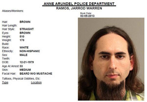 Jarrod Ramos, suspected of killing five people at the offices of the Capital Gazette newspaper office in Annapolis, Maryland, U.S., June 28, 2018 is seen in this 2013 Anne Arundel Police Department booking photo obtained from social media. Social media via REUTERS ATTENTION EDITORS - THIS IMAGE HAS BEEN SUPPLIED BY A THIRD PARTY.