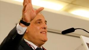 Javier Tebas, durante un encuentro con la prensa.