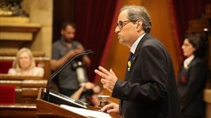 Joaquim Torra, en el pleno de investidura en el Parlament, este sábado.