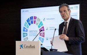 Jordi Gual, presidente de Caixabank, durante la presentación de resultados de la compañía.