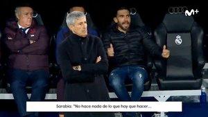 Las quejas de Eder Sarabia en el banquillo del Bernabéu.