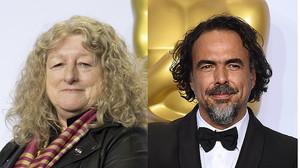 Los oscarizados Jenny Beavan y Alejandro González Iñárritu, aún a vueltas con la polémica de los aplausos y no aplausos de la gala de los Oscar.