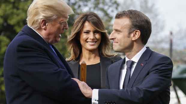 El presidente francés intenta mediar en las relaciones entre EEUU y la Unión Europea.