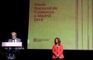 Un momento del acto de la Generalitat en Madrid, con Gorka Knorr y Meritxell Budó.
