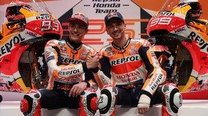 Marc Márquez y Jorge Lorenzo, el día de la presentación del flamante equipo Repsol-Honda.