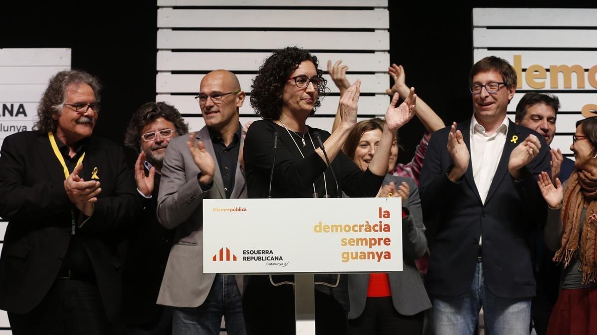 Marta Rovira celebra los resultados electorales de ERC.