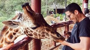 Miguel Ángel Sivestre, en un centro de cuidado de jirafas.