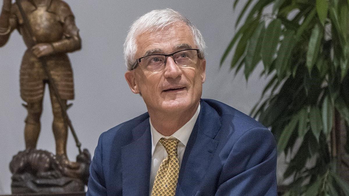 El ministro-presidente de Flandes, Geert Bourgeois, durante una reunión con Quim Torra en el Palau el pasado julio.