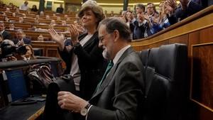 El presidente del Gobierno, Mariano Rajoy, en el pleno de debate la moción de censura encabezada por Pedro Sánchez.