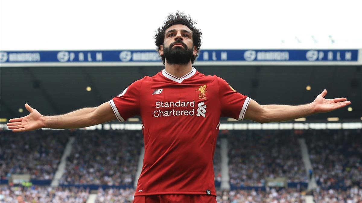 Mohamed Salah celebrando un gol con el Liverpool