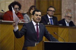El candidato del PP Juanma Moreno en el Parlamento andaluz.