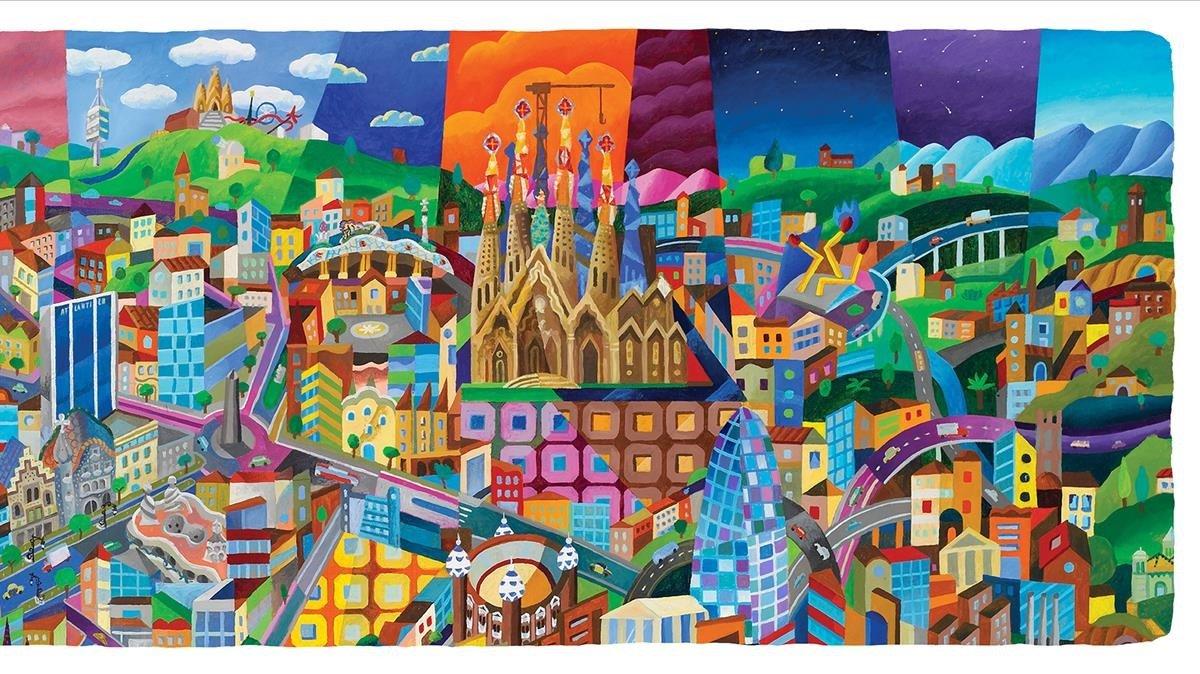 'Barcelona skyline': la ciudad vista por el artistay retratada por la técnica del 'glicée'.