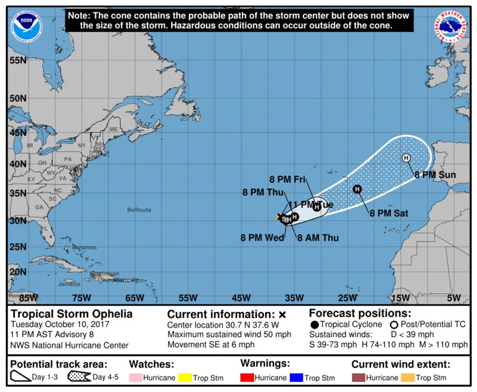 Trayectoria prevista del huracán Ofelia por el Centro Nacional de Huracanes de EEUU.