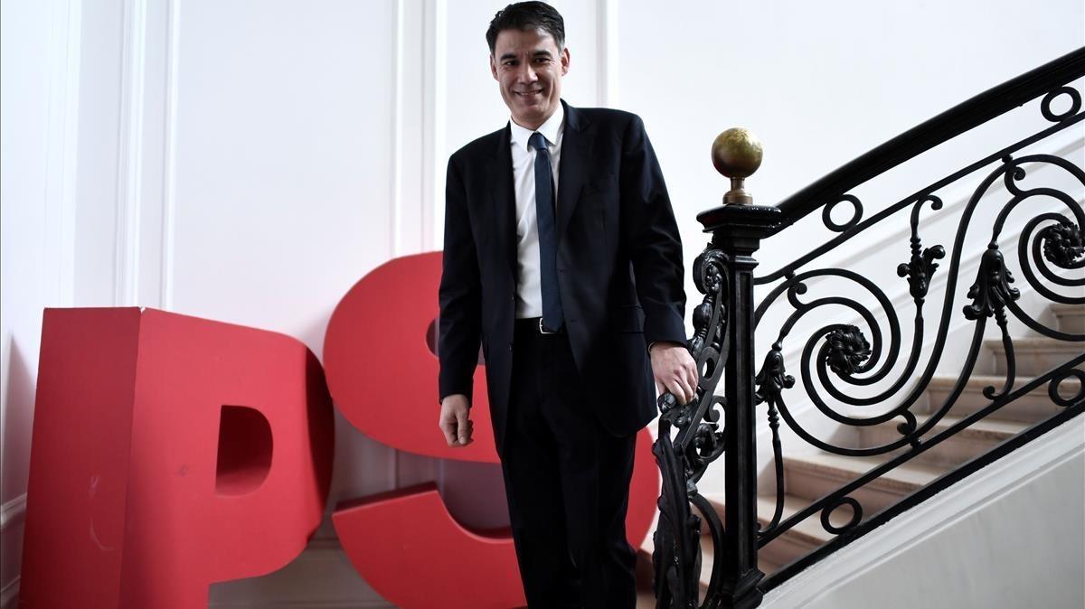 Olivier Faure, en la sede del Partido Socialista, en París.