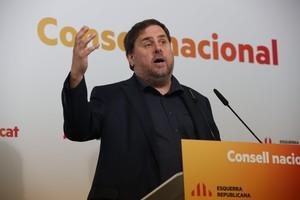 Oriol Junqueras, este sábado, en el Consell Nacional de ERC.
