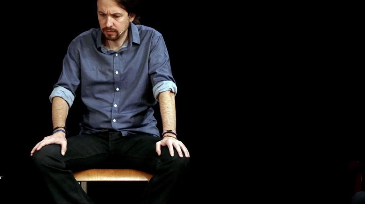Pablo Iglesias interviene en un acto en Barcelona, el pasado 9 de abril.