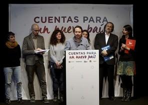 Pablo Iglesias, en la rueda de prensa del grupo Unidos Podemos y En Comú Podem, ayer en Madrid.