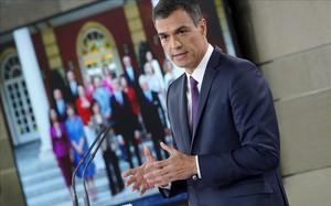 Pedro Sánchez, en la rueda de prensa posterior al Consejo de Ministros.
