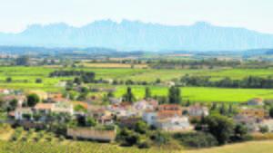 El Penedès con las montañas de Montserrat al fondo
