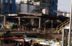 La planta de la empresa IQOXE, tal como ha quedado tras la explosión de ayer.