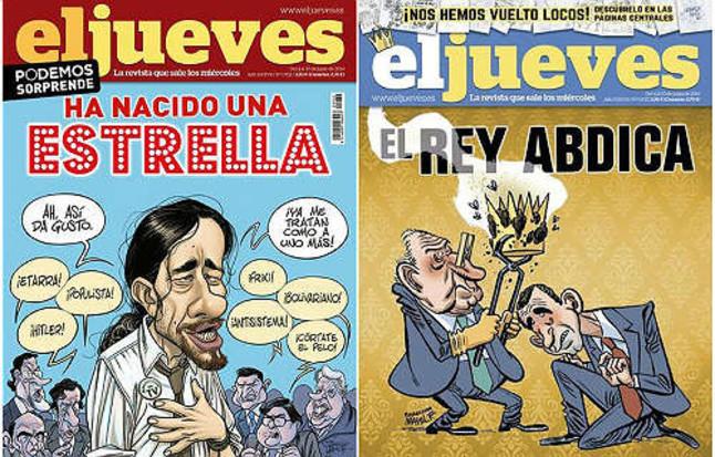 La portada censurada de 'El Jueves' sobre la abdicación de El Rey (derecha) y la de Pablo Iglesias por la que ha sido sustituida en los quioscos.