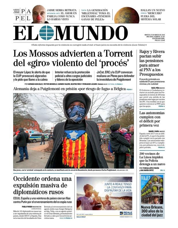 'La Razón' asimila otra vez 'procés' y ETA mientras 'The Times' clama contra Rajoy