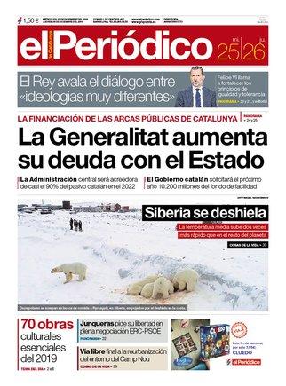 La portada de EL PERIÓDICO del 25 y 26 de diciembre del 2019