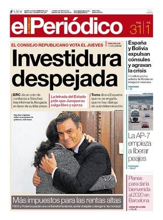 La portada de EL PERIÓDICO del 31 de diciembre del 2019 y el 1 de enero del 2020.