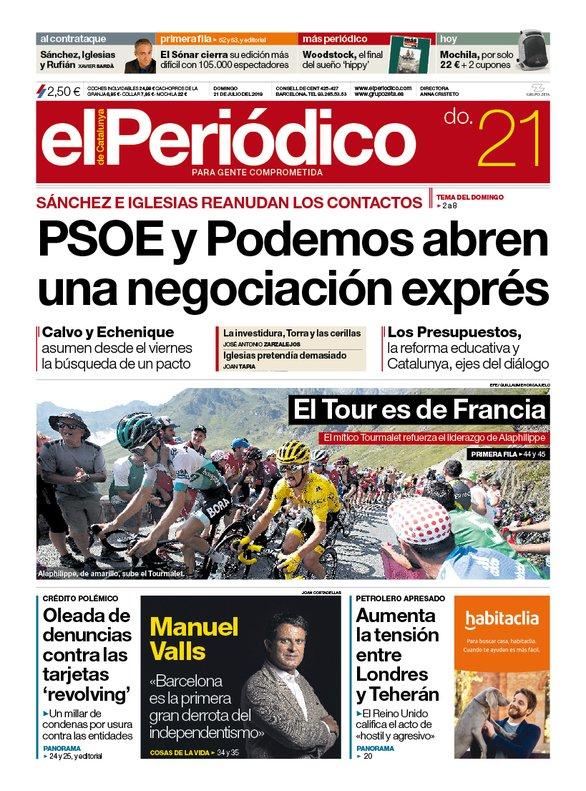 La portada de EL PERIÓDICO del 21 de julio del 2019