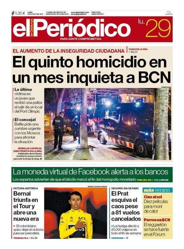 La portada de EL PERIÓDICO del 29 de julio del 2019