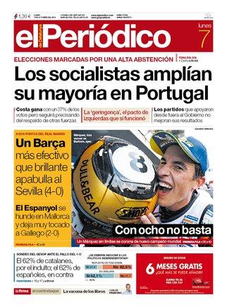 La portada de EL PERIÓDICO del 7 de octubre del 2019.