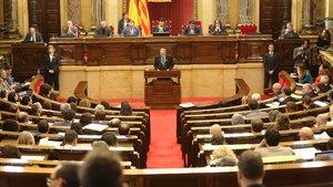El president Quim Torra, durante su comparecencia este miércoles en el Parlament.