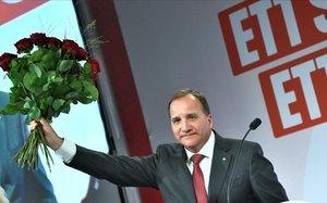 El primer ministro sueco y líder del Partido Socialdemócrata, Stefan Löfven, en un mitin, el pasado septiembre.