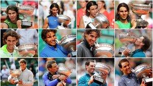 Rafael Nadal posa con la Copa de los Mosqueteros en cada una de sus 12 ediciones victorias en París.