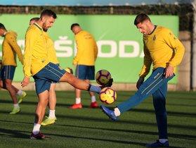 Borja Iglesias y David López, en un entrenamiento del Espanyol.