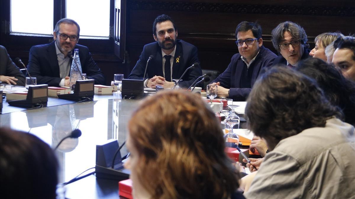 Reunión de la Mesa del Parlament y de la Junta de Portaveus.