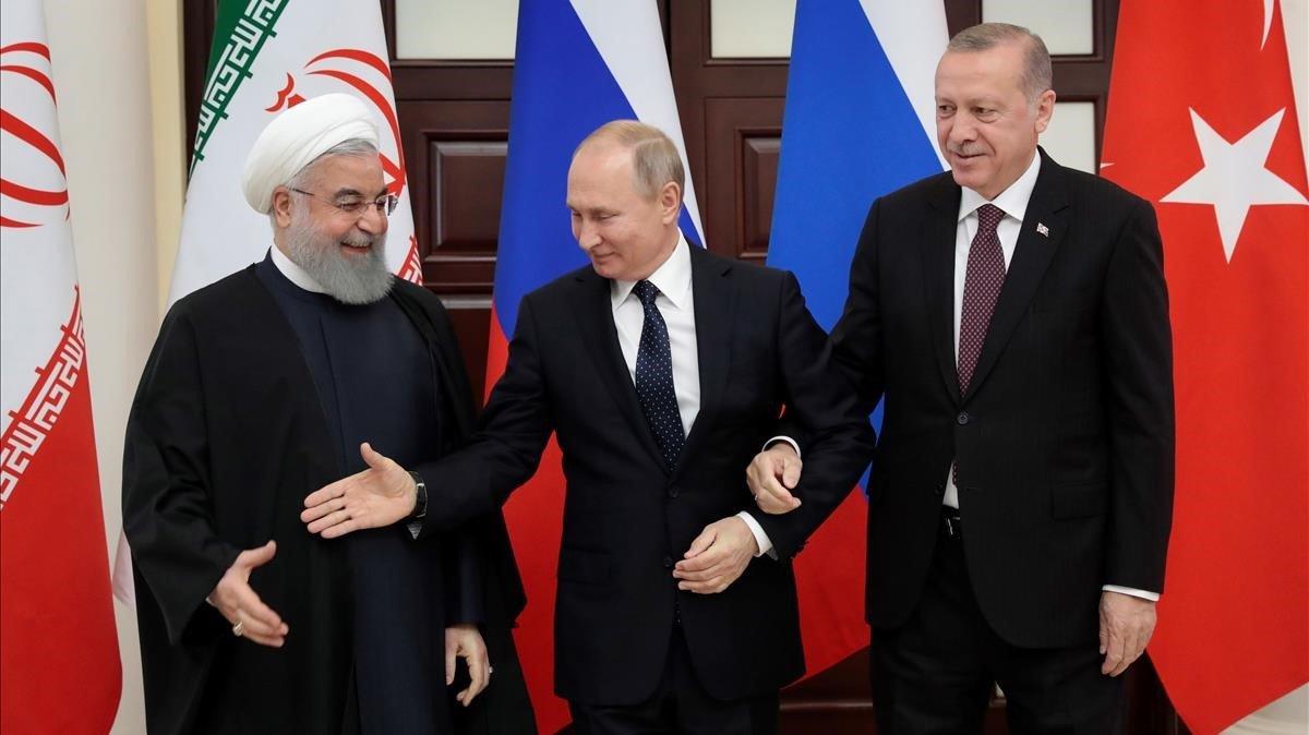 Rohaní, Putin y Erdogan, en la cumbre de Rusia.