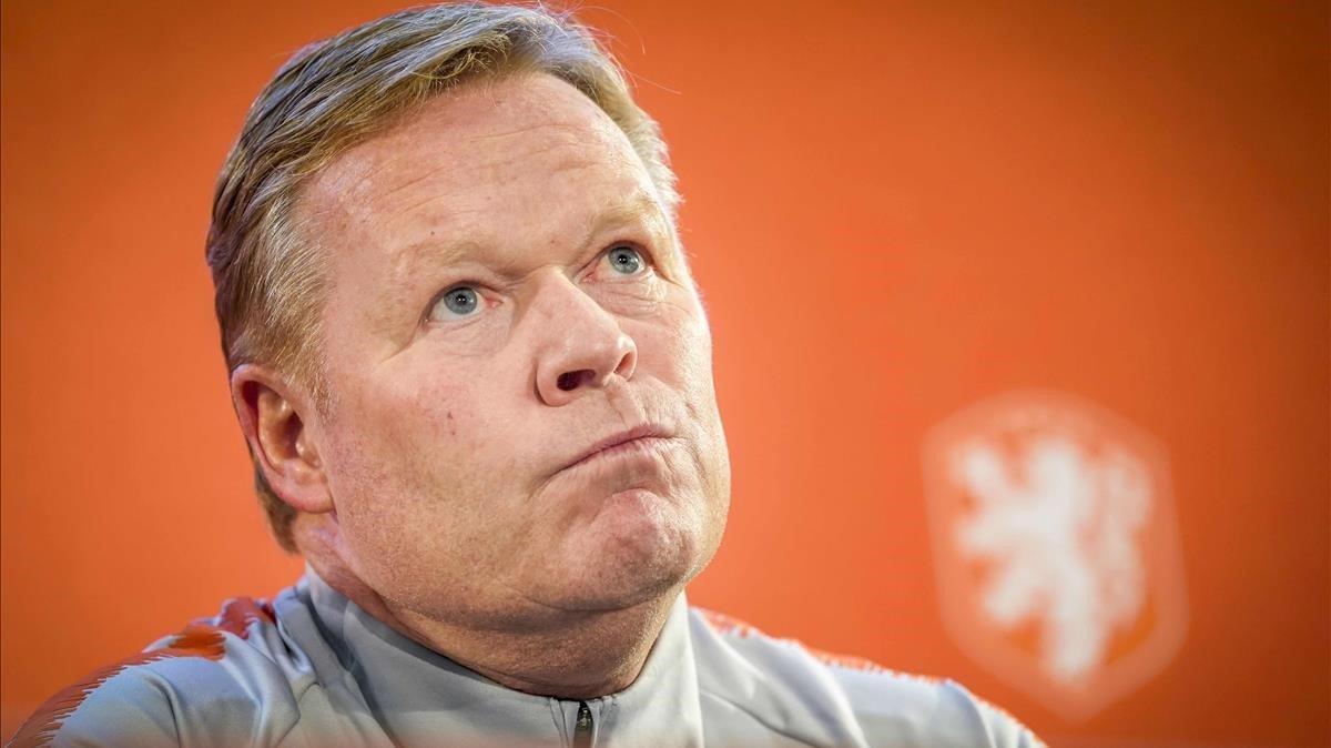 Ronald Koeman, en una rueda de prensa como seleccionador de Holanda.