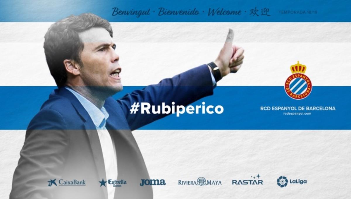 Rubi, presentado este lunes como nuevo entrenador del Espanyol.