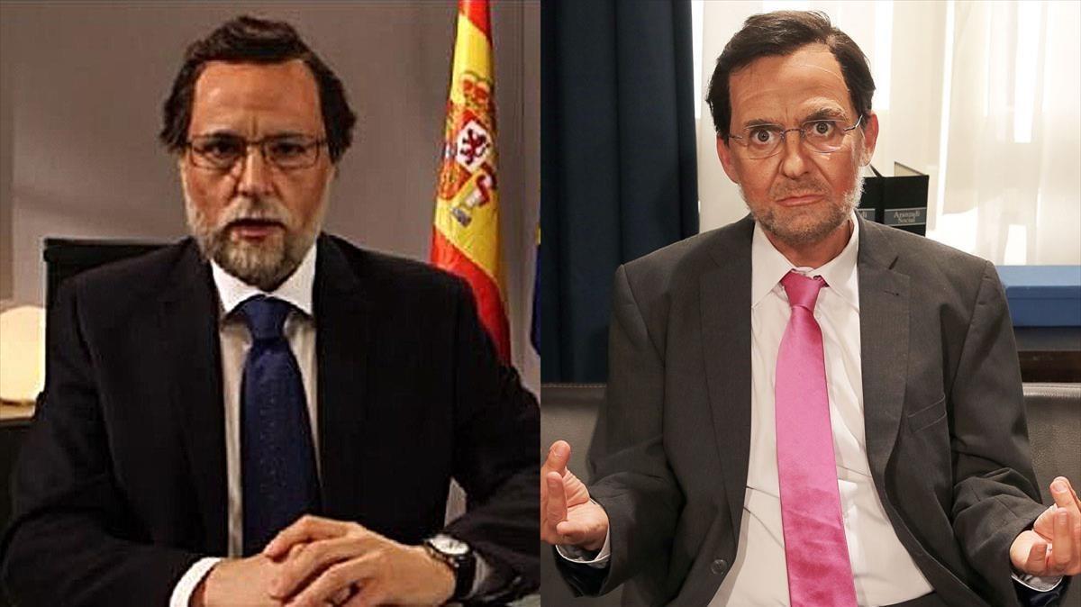 Los dos Rajoy de plasma: el madrileño Raúl Pérez (izquierda) y el polaco Queco Novell.