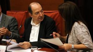 El director de TVC, Vicent Sanchis,en la comisión de control en el Parlament.