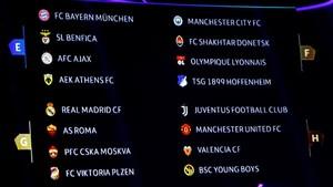 Una pantalla muestra los equipos tras el sorteo de la fase de grupos de la Liga de Campeones de la UEFA durante el sorteo en Monaco.