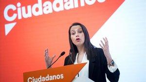 Inés Arrimadas, el pasado martes, en una rueda de prensa en la sede de Ciudadanos en Madrid.