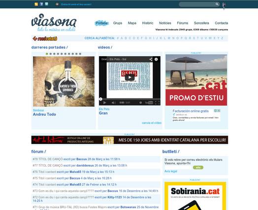 Captura de pantalla de la portada de Viasona.