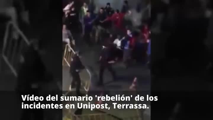Vídeo del sumario de los incidentes en Unipost, Terrassa