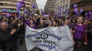 Huelga feminista el año pasado en València.