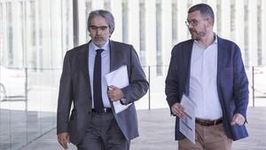 Clotet y Nin a su llegada este miércoles a la Ciutat de la Justícia de Barcelona.