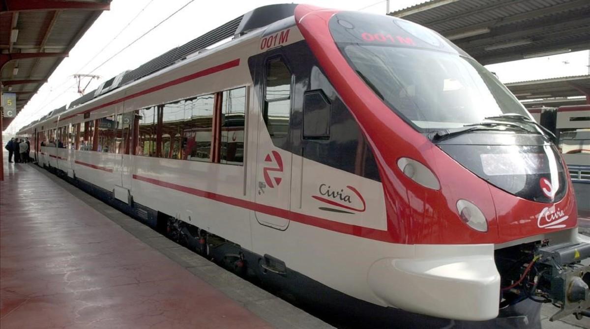 Un modelde tren de rodalies de Renfe.