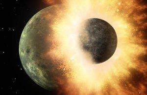 Ilustración gráfica de la hipótesis del gran impacto con el que se cree que se formó la Luna