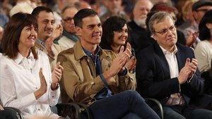 El presidente del Gobierno, Pedro Sánchez, en el acto de este sábado en Barakaldo.